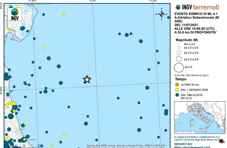 Evento sismico del 11 luglio 2021, Ml 4.1, in Mar Adriatico Settentrionale
