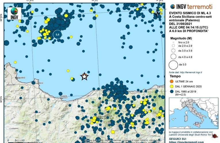 Evento sismico del 31 agosto 2021, Ml 4.3, al largo della costa siciliana centro settentrionale