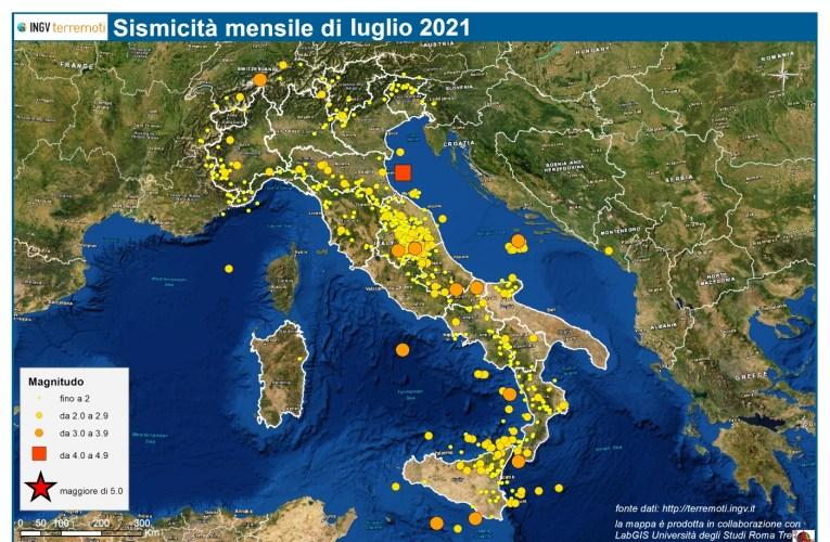 Le mappe mensili della sismicità, luglio 2021