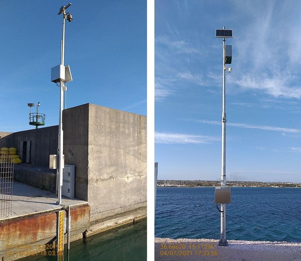 Nuove stazione mareografiche: a sinistra, Cetraro Lido (Calabria); a destra, Portopalo di Capo Passero (Sicilia).