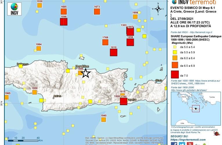Evento sismico Mwp 6.1 a Creta (Grecia) – 27 settembre 2021