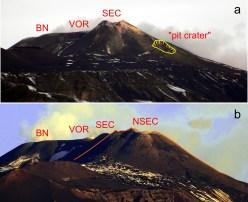 """Vista dell'area sommitale dell'Etna da sud a gennaio 2011 (a) e gennaio 2018 (b). Quello che al tempo della prima foto era ancora conosciuto come """"pit crater"""" (cratere a pozzo) è diventato un enorme complesso di diversi coni sovrapposti, il Nuovo Cratere di Sud-Est (NSEC), che ha largamente obliterato il """"vecchio"""" Cratere di Sud-Est (SEC). A sinistra, i crateri Voragine (VOR) e Bocca Nuova (BN)."""