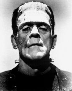"""Figura 1. A sinistra, l'attore Boris Karloff nei panni della creatura. Foto promozionale per il film del 1935 """"La sposa di Frankenstein"""", diretto da James Whale. A destra Mary Shelley, in un ritratto di R. Easton."""