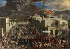Figura 3 - L'eruzione del Vesuvio del 1631, dipinto di Domenico Gargiulo, detto Micco Spadaro. Museo di San Martino, Napoli. Il dipinto raffigura la processione che si svolse a Napoli, guidata dal cardinale Boncompagni, insieme al viceré spagnolo, con le reliquie di San Gennaro chiamato a intercedere per salvare la città.