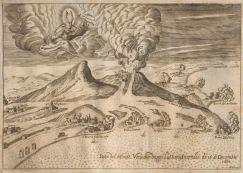 Figura 2 - L'eruzione del Vesuvio del 1631, incisione di N. Perrey in Giuliani, 1632. In questa immagine sono evidenti le colate piroclastiche, i paesi colpiti e la parziale distruzione del Gran Cono vesuviano.