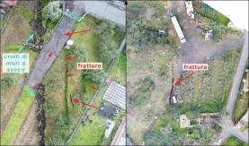 Foto 3 – Esempio di immagini in alta definizione ottenute da riprese aree lungo la Faglia di Fiandaca (località Pennisi). L'immagine di destra è ortorettificata (gruppo droni FlyEye – Team, INGV-CT).