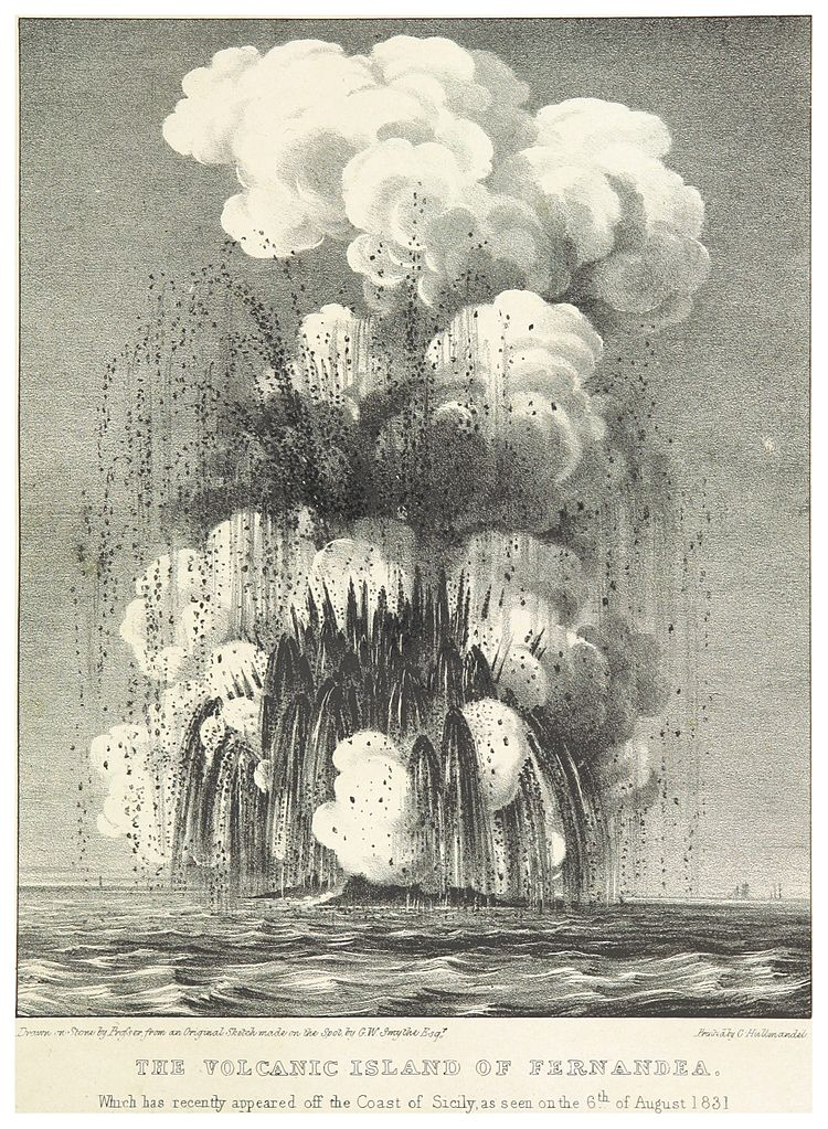 Figura 1_SMYTHE(1832)_25_THE_NEW_VOLCANIC_ISLAND_OF_FERNANDEA,_AS_SEEN_AT_6TH_AUGUST_1831
