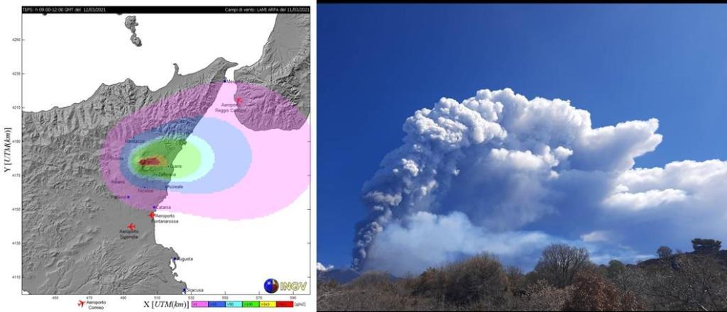 Figura 1. A sinistra un esempio dei risultati forniti al DPC dall'INGV-OE per l'evento del 12/03/2021, a destra una foto scattata da Simona Scollo durante l'evento.