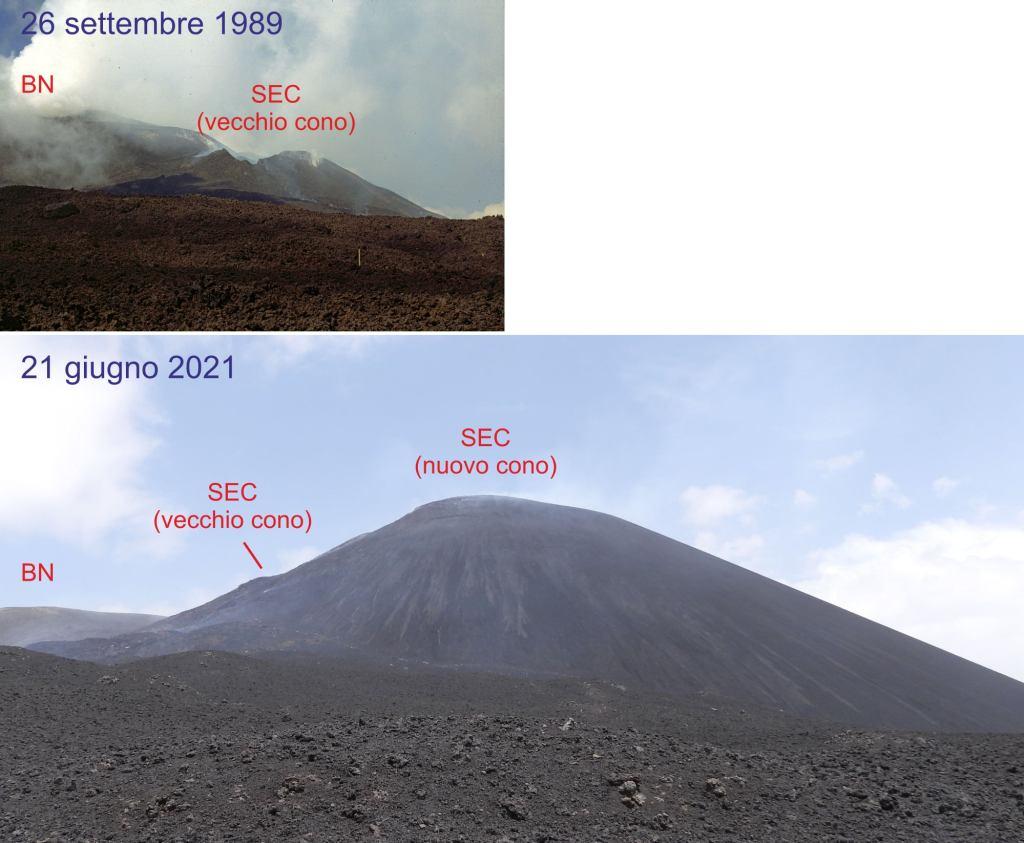 Figura 3 - Variazione morfologica del Cratere di Sud Est, dal 1989 al 21 giugno 2021 (Fotografie di Boris Behncke)