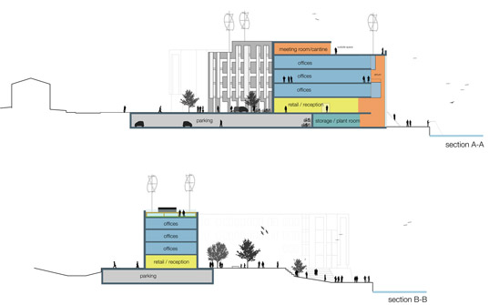 architecture section diagram ice maker building various architects inhabitat green design site plan
