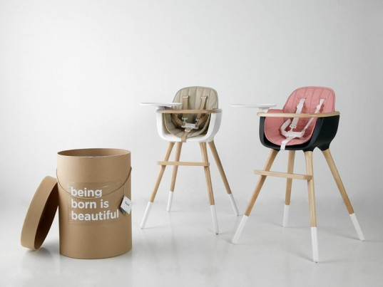 Minimalist Ovo high chair by Micuna evolves into a desk
