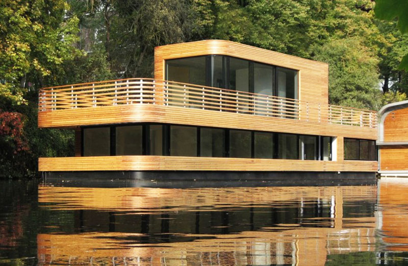Rost Niderehe, modern houseboat, modernism houseboat, houseboat community, sustainable design, green architecture, floating house