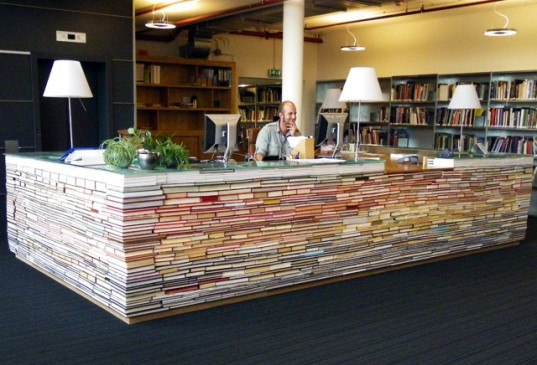 Amazing Desk Made From Recycled Books at Delft University