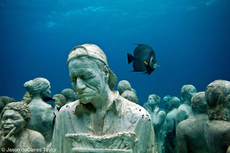 """underwater sculpture"", ""artificial reef"", ""marine life"", Mexico, ""Jason deCaires Taylor"""