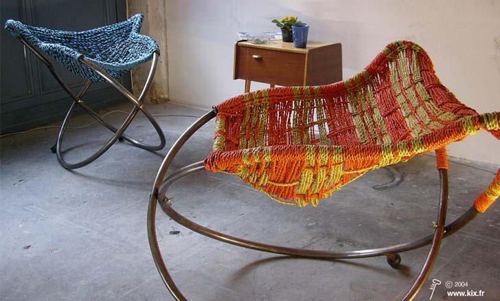 rocking bag chair iron throne office mousso koroba chairs turn recycled plastic bags into seating design