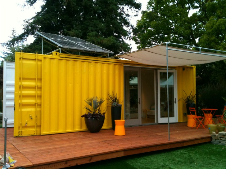 Sunset Idea House Hybrid Architecture's Yellow Shipping Container