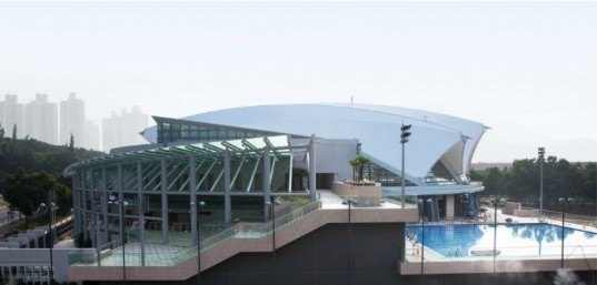 Seashell-Shaped Tung Chung Swimming Pool is Wrapped in an Energy Efficient Shell   Inhabitat - Green Design. Innovation. Architecture. Green Building