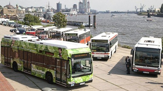 Mercedes fuel cell bus, zero-emission bus, fuel cell hybrid, hydrogen fuel cell, green transportation, alternative transportation, green automotive design