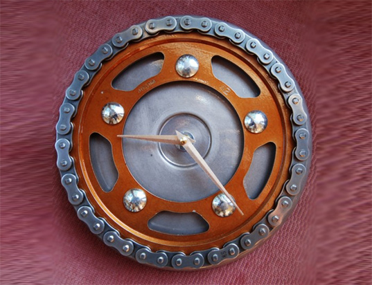 recycle clocks, michole madden, motorcycle part clocks, recycled motorcycle part clock, green design, eco design, sustainable design, green products, green home furnishings