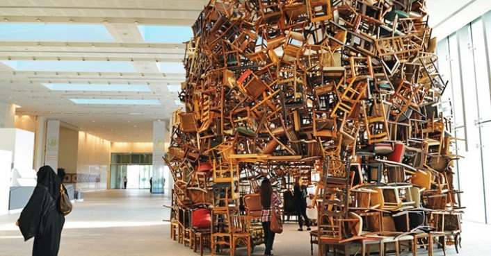 Tadashi Kawamatas recycled chair sculpture in Abu Dhabi