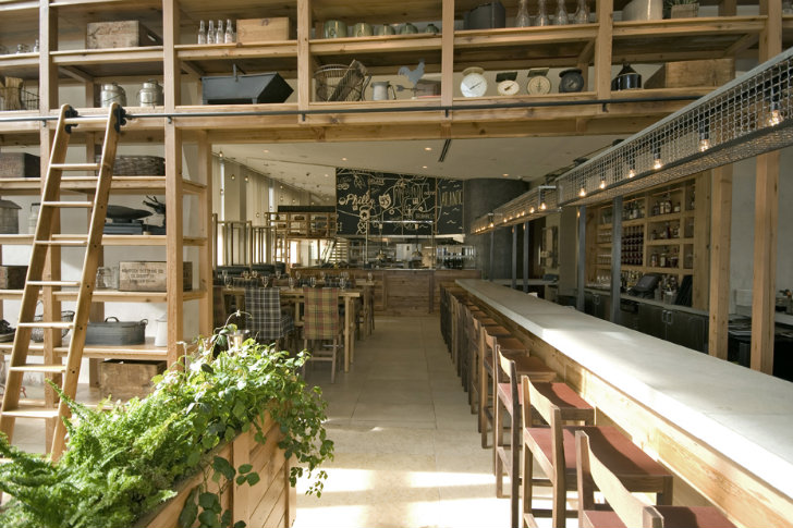 shelves for kitchen jg domestic americana restaurant serves up a living wall ...