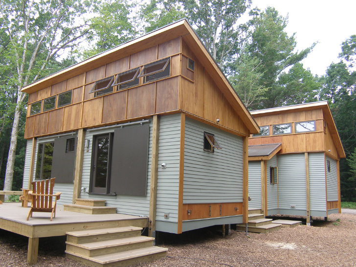 Compact Modular PreFab Cottage Made from Local Materials Sits Amongst Trees Near Traverse City