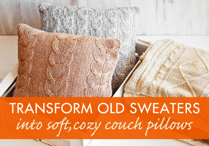 how to recycle my sofa american leather bed a sweater into throw pillow diy sewing recycled textile
