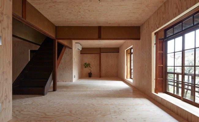 100 Year Old Japanese Home Is Lined With Plywood For An