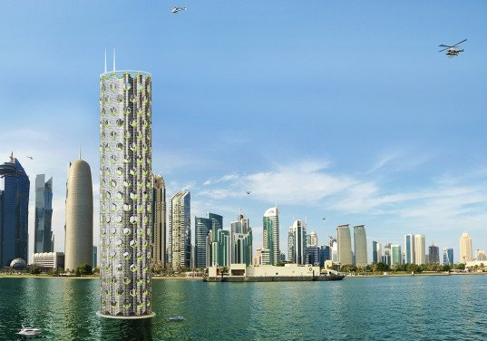 Luca Curci Architects, vertical city, modular design, photovoltaics, green skyscraper, green tower, natural ventilation, futuristic design, floating architecture