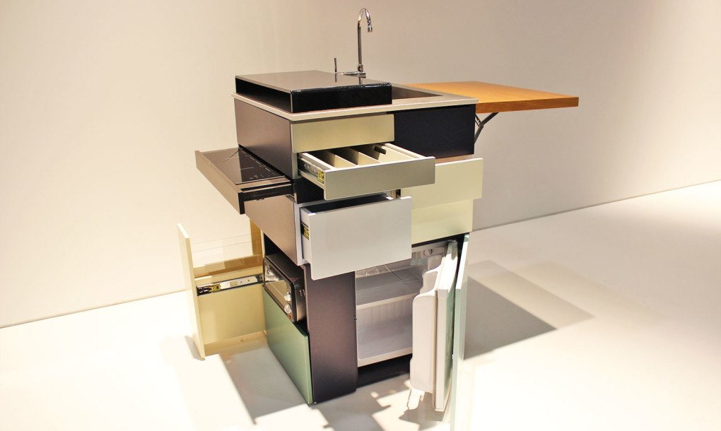 This ultracompact micro kitchen unfolds like a Swiss Army