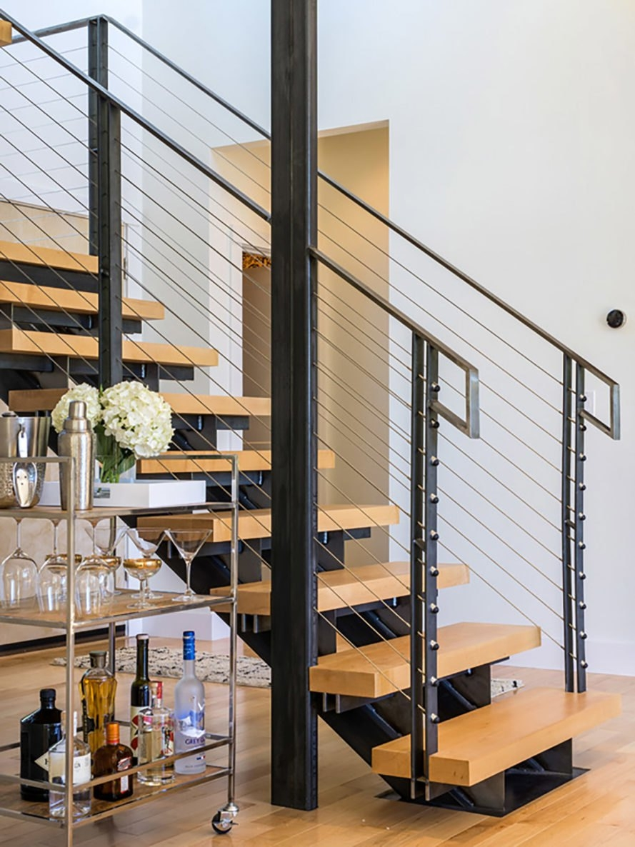 Cable Railing – Expand The View In Your Favorite Spaces | Cable Stair Railing Indoor | Exterior Irregular Stair | Vertical | Wood | 90 Degree Stair | Stainless