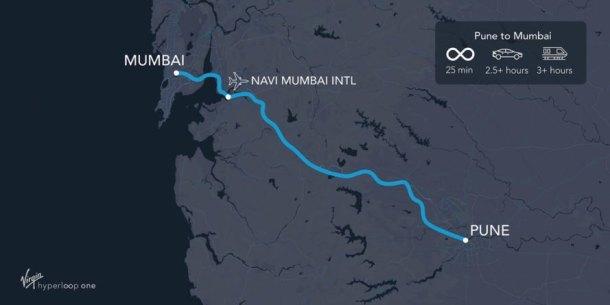Virgin Hyperloop One, Mumbai, Pune, India, Maharashtra, Navi Mumbai International Airport, map, transportation