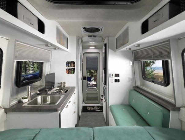 Nest by Airstream, Airstream Nest price, Nest travel trailer, fiberglass camper, fiberglass trailer, Airstream fiberglass, fiberglass Nest trailer, modern camper design, Robert Johans Nest, transforming furniture in a camper