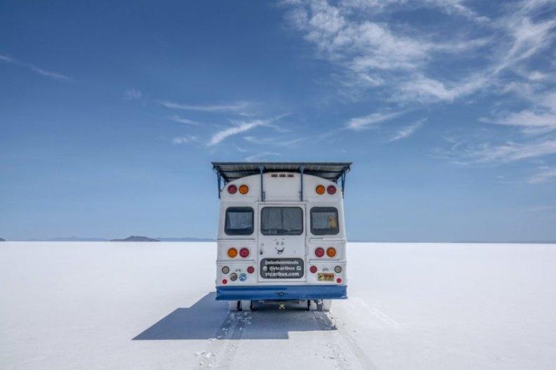white bus in snowy landscape