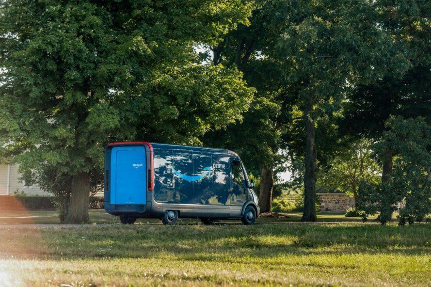 blue Amazon electric van