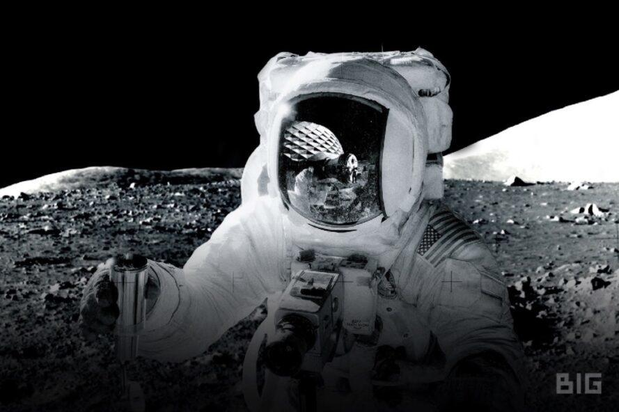rendering of astronaut on the moon