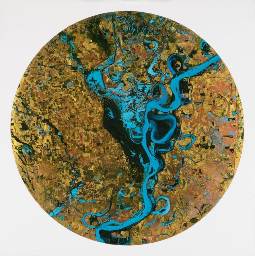 blue and tan circular artwork