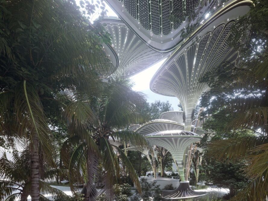 rendering of tall structures among trees