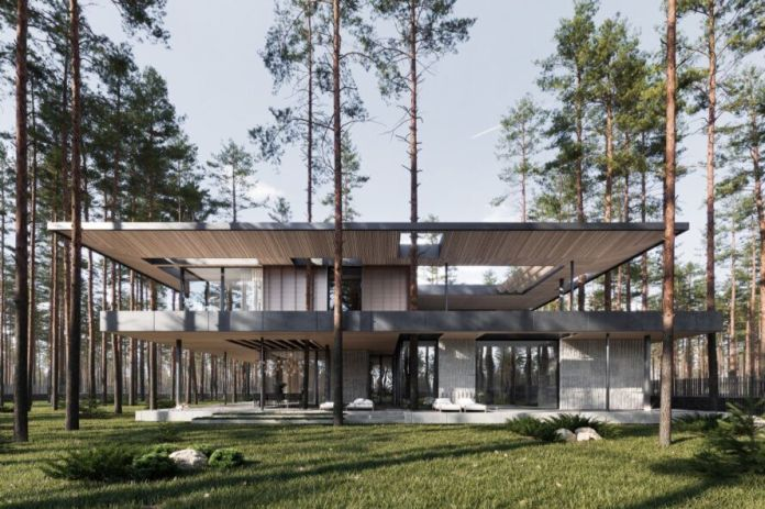 wood and stone home with flat roof