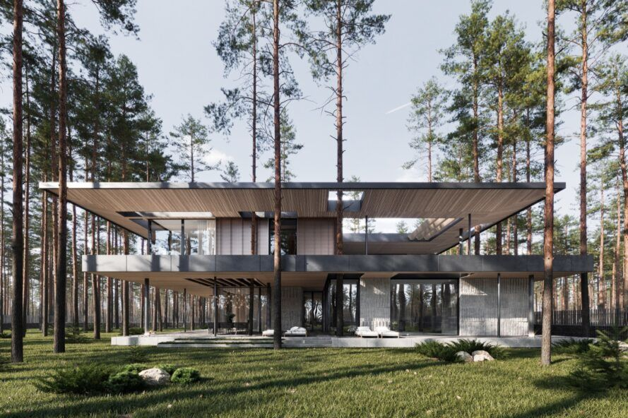 Wright-inspired home has trees growing through the roof