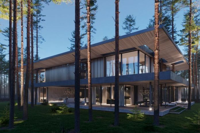 wood and stone home with large windows and flat roof