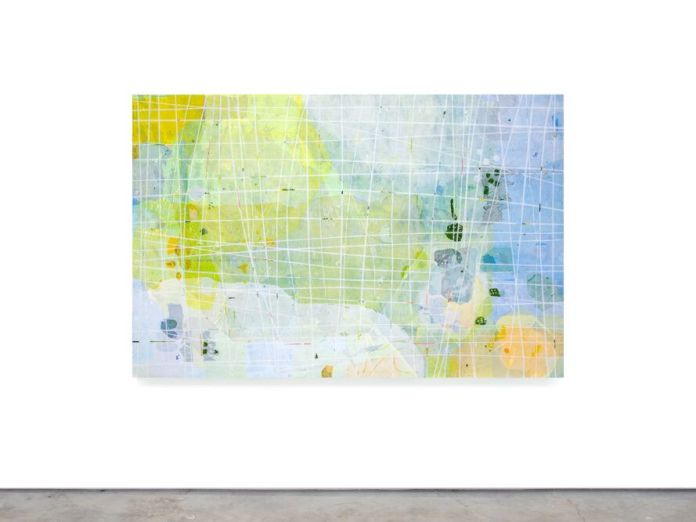 Abstract art with blue, green, orange and white splotches