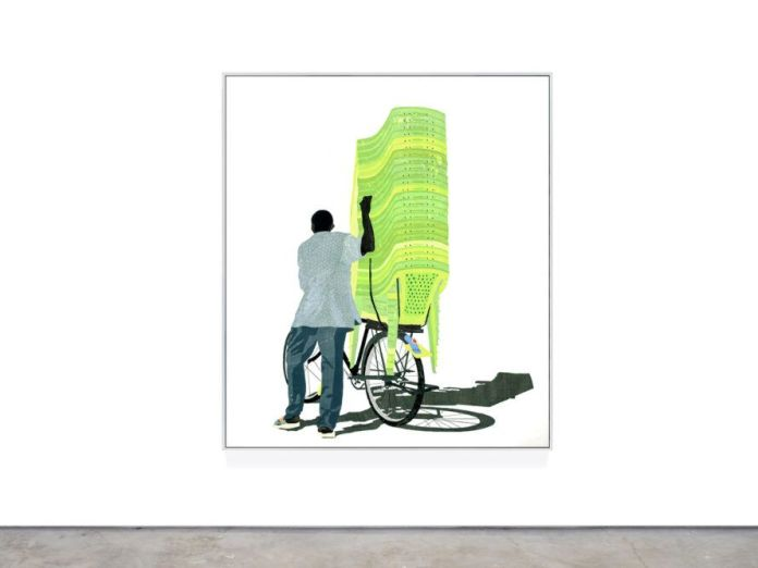 Art depicting person hauling plastic lawn chairs on a bike