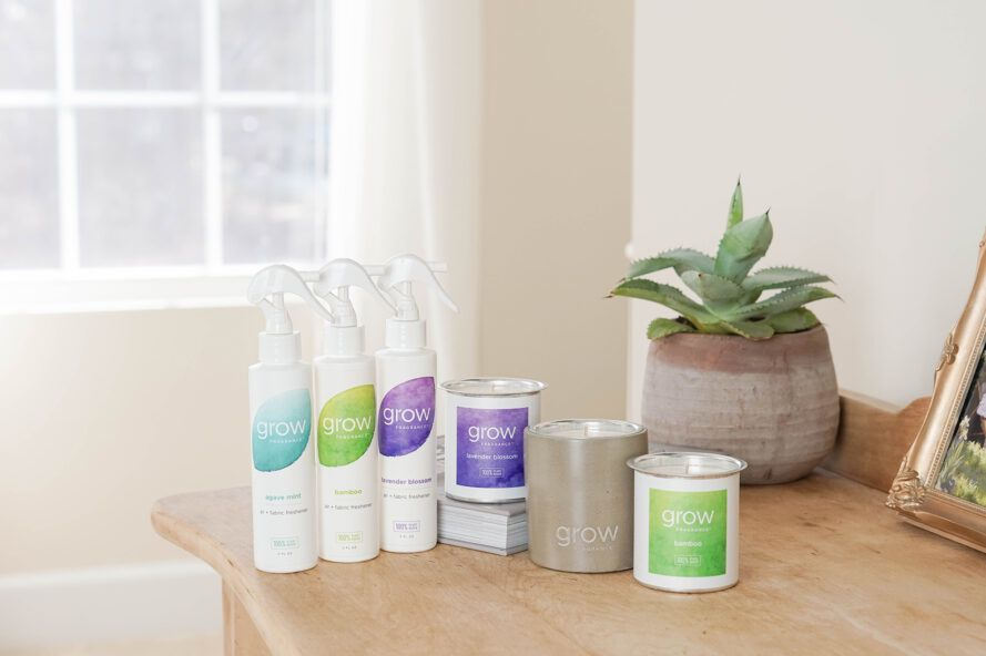 Grow Fragrance offers 100% non-toxic, plant-based candles and air fresheners