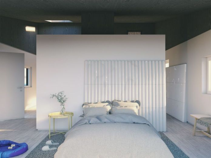 rendering of large gray bed in small room