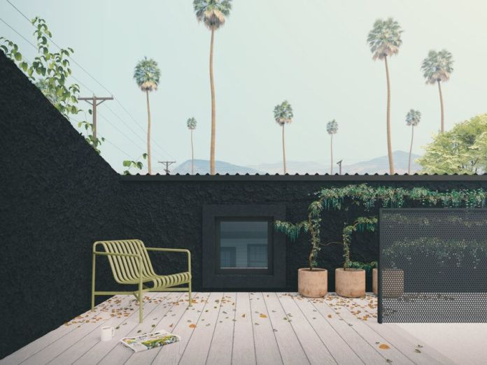 rendering of rooftop patio enclosed in black walls