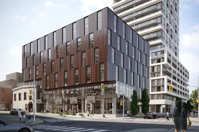 rendering brown rectangular building on city block