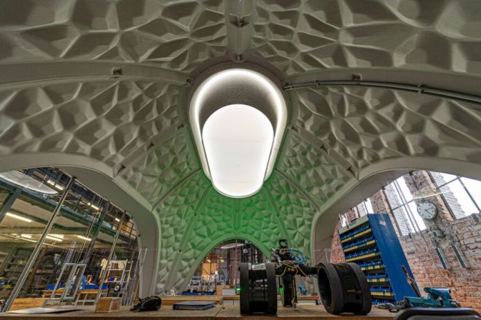 igloo-shaped pavilion interior with central oval skylight