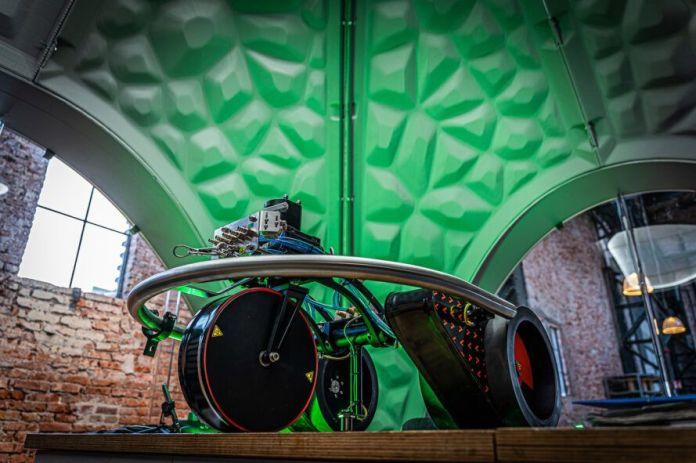 3D-printer device inside a pavilion