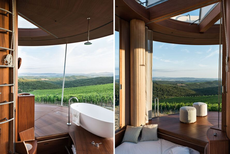 Two images: on the left, an image showing a bathtub looking out on a green valley through the building's open sliding wall. On the right, an image of the bedroom overlooking a valley.